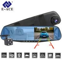E ACE Dvr Dash Camera Car Dvr mirror FHD 1080P 4.3 Inch Dual Lens With Rear View Camera Auto Video Recorder Registratory