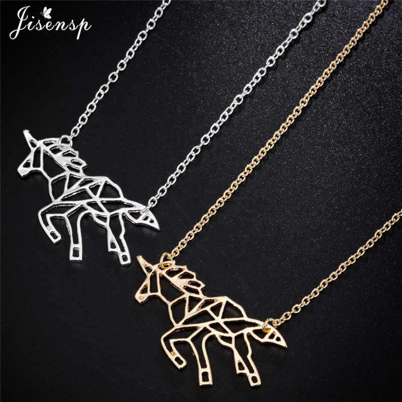 Jisensp Ethnic Origami Unicorn Necklace for Women Jewelry Horse Choker Necklace Women Animal Necklaces & Pendants colares