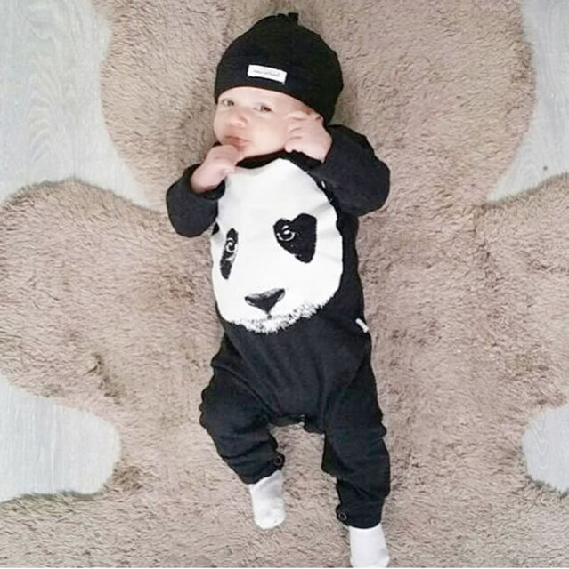 ca4f0a8a5 2019 new fashion baby boy clothes cute Panda baby romper newborn ...