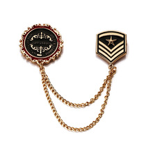 Retro alloy star shield brooch 2019 simple metal collar needle military uniform suit pin chain jewelry