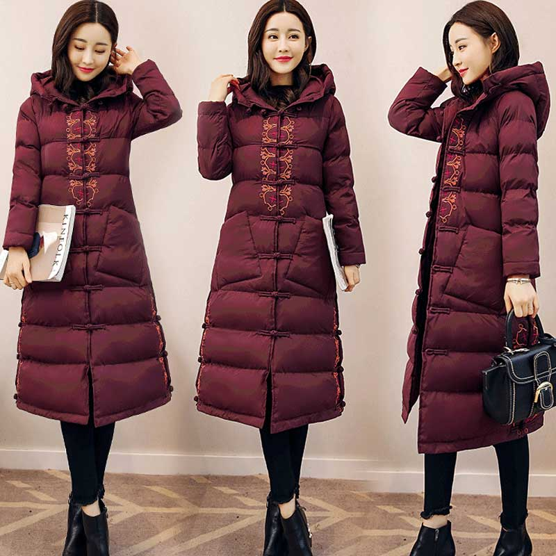 Winter Wear Women Jacket Coat Embroidery Warm Outerwear High Quality Hooded Coats Chinese Style kz300