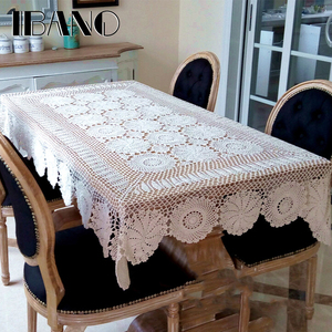 Image 3 - IBANO Cotton Tablecloth Handmade Vintage Flowers Design Crocheted Table cloth Lace Coasters Home Table Decoration Crafts
