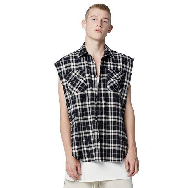 797d347c6 Justin Bieber Camisa Xadrez de Flanela Preta de Grandes Dimensões  Streetwear Solto Side Abrir Cantos Das