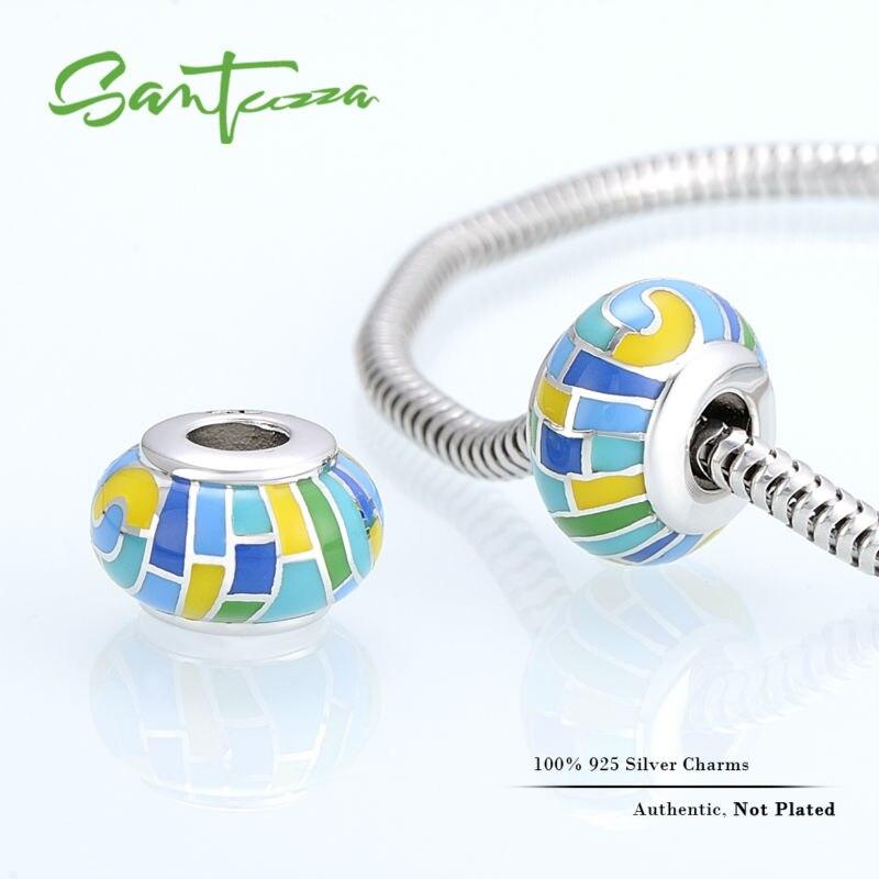 eee392234939 Plata esmalte encanto colorido Cuentas encanto para pulsera brazalete DIY  que hace el 100% auténtico 925 plata esterlina mujeres joyería