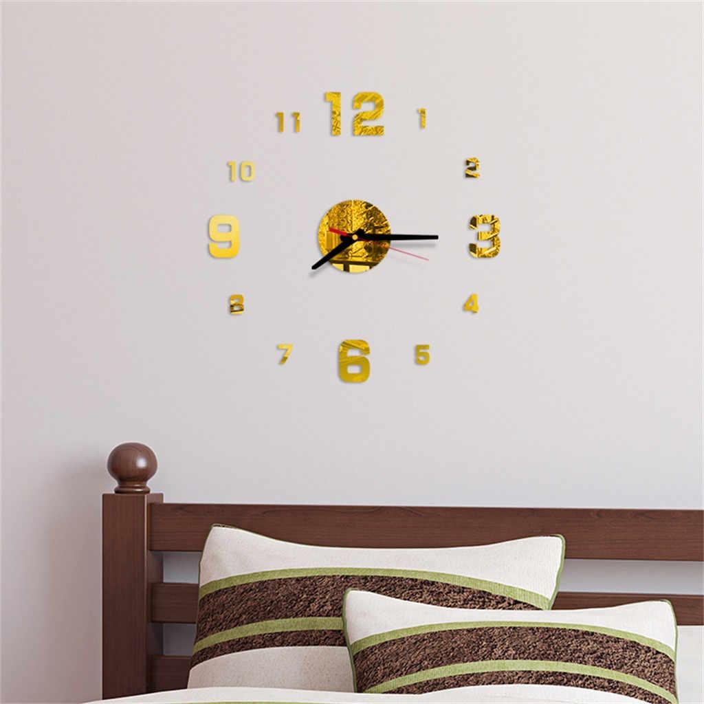 Relógio de parede padrão números diy 3d decorativo adesivo de parede decoração de casa relógio sala de estar decoração de casa espelho adesivo de parede casa