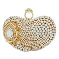 Newest finger ring Gold Metal Clutch Bag Wemen Wedding White Party Prom Evening Bag water drop Pattern banquet Handbag SC428