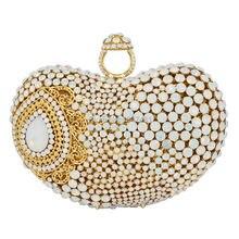 Neueste finger ring Gold Metall Handtasche Wemen Hochzeit Weiß Partei Abschlussball Abend Tasche wassertropfen Muster bankett Handtasche SC428