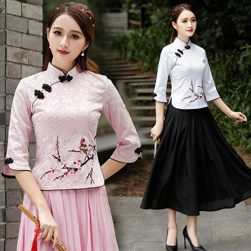 Women Chinese Cheongsam Top Blouse Cotton Embroidered Plum 7 Points Sleeve Tang 4XL Plus Size