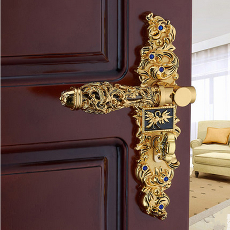 Euro antique style luxury crystal archaize bed room handle lock Gold diamond wood door lock 2 latchs indoor handle lock t handle vending machine pop up tubular cylinder lock w 3 keys vendo vending machine lock serving coffee drink and so on