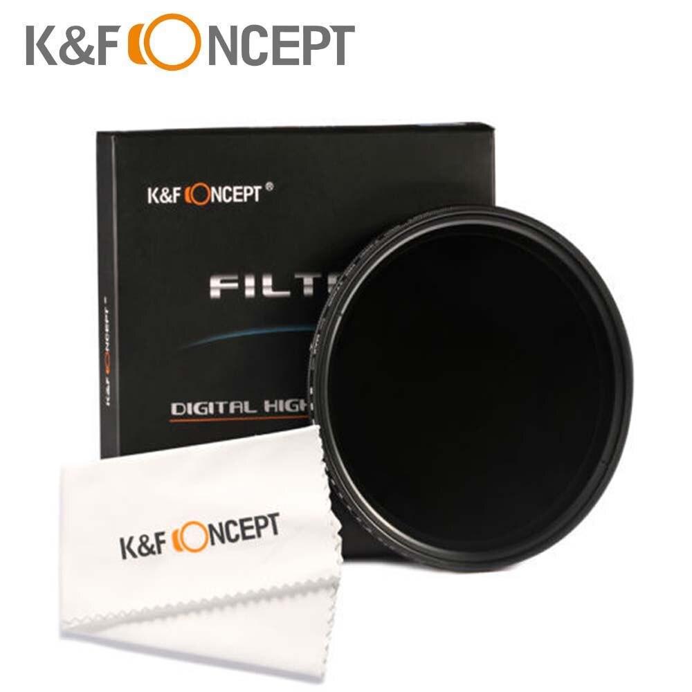 K & F concept nuevo 49mm fader variable filtro ND ND2 ND4 ND8 ND400 Filtro de lente de densidad neutra para nikon Canon hoya Lens