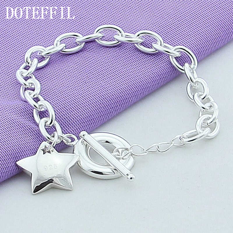 New 925 Silver Color Jewelry Bead Bracelet Stars Pendant Bracelets For Women Fashion 925 Silver Color Bracelets Fine Jewelry