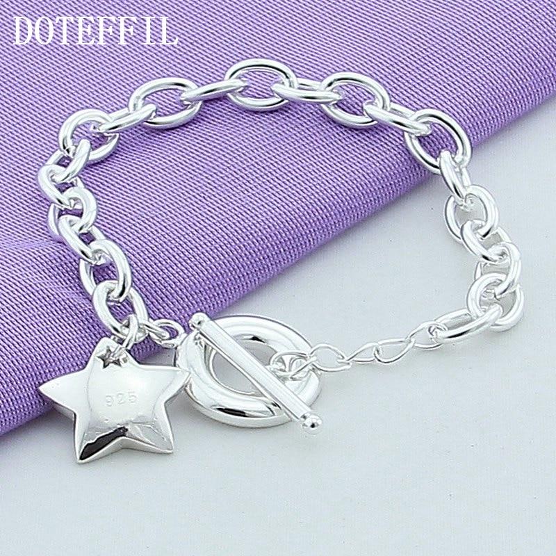 Új ezüst 925 ékszer gyöngy karkötő csillagok medál karkötők női divatos ezüst karkötők finom ékszerek