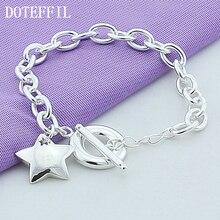 New Silver 925 Jewelry Bead Bracelet Stars Pendant Bracelets For Women Fashion Plated Silver Bracelets Fine Jewelry