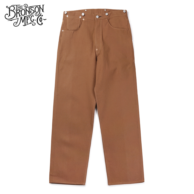 Bronson Repro 1873 Duck Canvas Pants Vintage Men's Fatigue Logger Trousers Brown