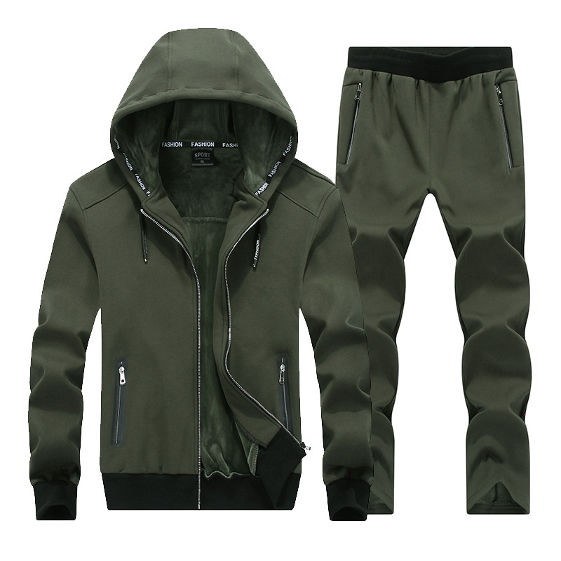 YDTOMM 2018 Fashion Winter Men Sporting Suit Hoodies Jacket+Pant Thick Sweatsuit Two Piece Set Tracksuit For Men Clothing