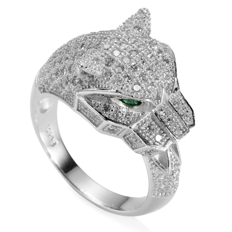 Eulonvan Punk 925 sterling Silver leopard wedding rings for men and women White and Green Cubic Zirconia S 3740 size 6 7 8 9 10