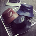 2015 Nova Moda PU Hip Hop Caps Bucket Chapéus para Homens e Mulheres de Couro Chapéu De Pesca Chapéu Panamá Bapa Bobs