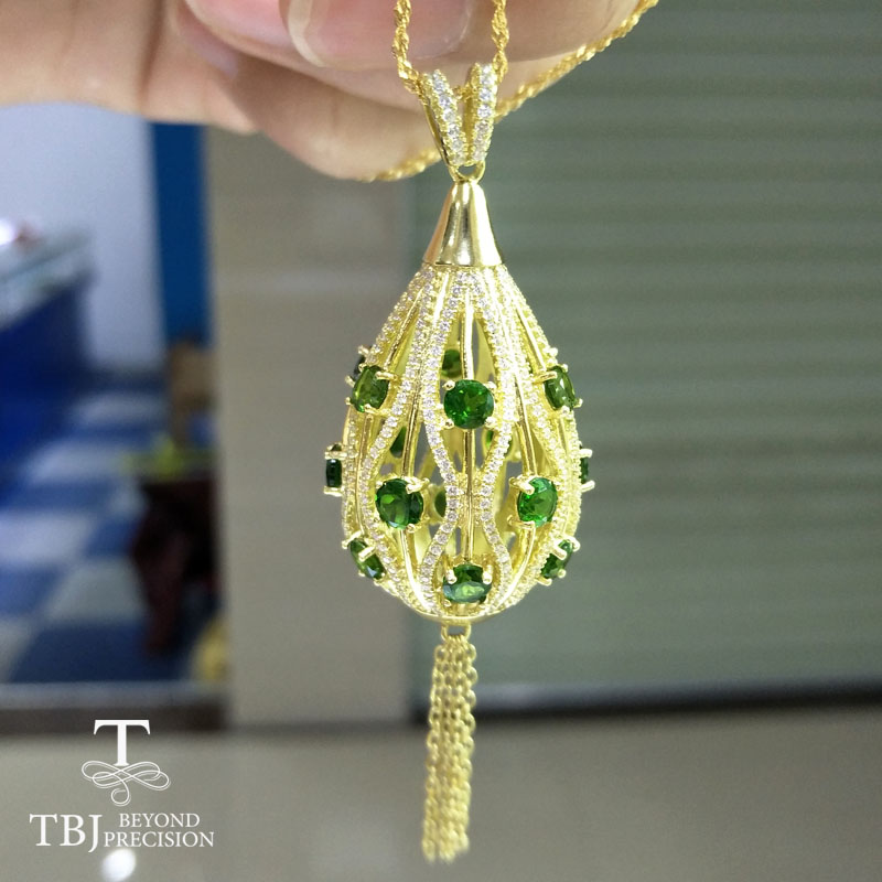 TBJ,Luxury Party pendant necklace in 925 Sterling silver yellow color with natural green chrome diopside gemstone with gift boxTBJ,Luxury Party pendant necklace in 925 Sterling silver yellow color with natural green chrome diopside gemstone with gift box