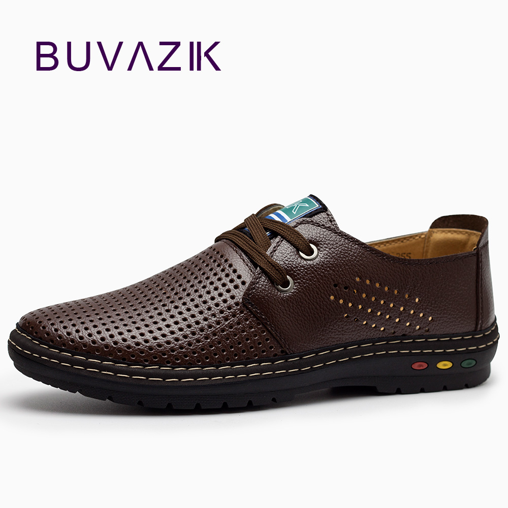 BUVAZIK Genuine Leather Men Casual Shoes Summer 2018