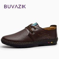 Genuine Leather Men casual shoes Summer 2017 Breathable Soft Driving Men's Handmade chaussure homme Net Surface Loafers