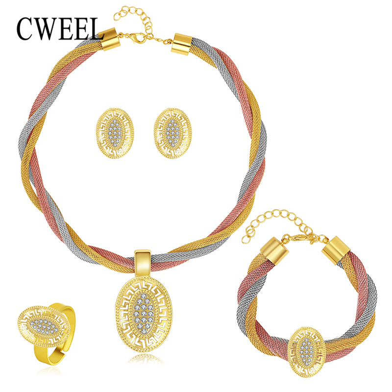 Women Wedding Gold Color 3 Color Necklace Set Fine Jewelry Sets Party African Beads Bridal Ring Bracelet Earrings Accessories