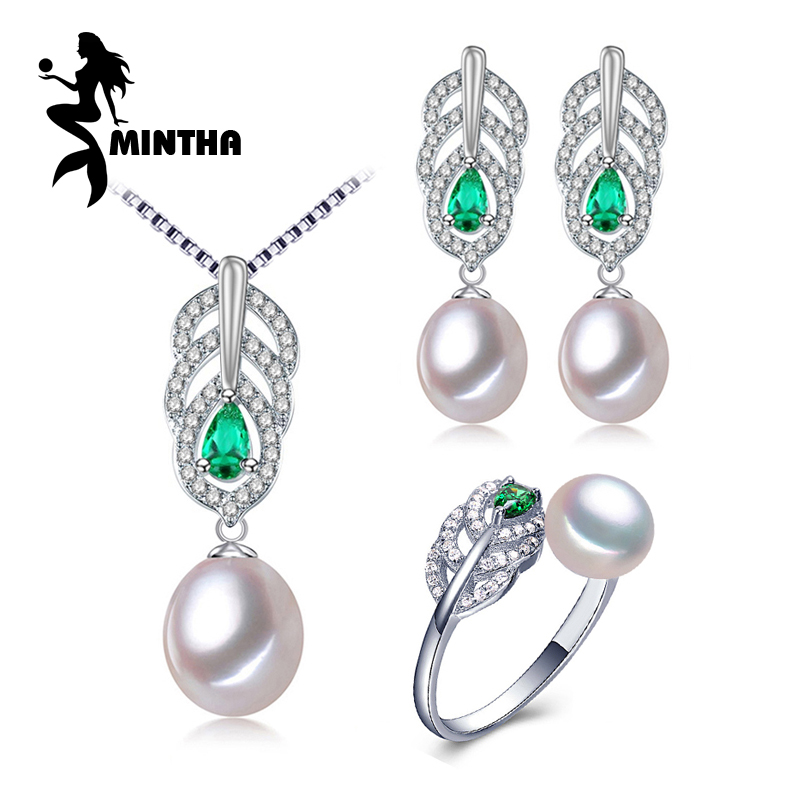MINTHA Pearl Jewelry Sets,Pearl Pendant Necklace Earrings For Women ,fine engagement ring Leaves Emerald leaf big earrings set a suit of delicate pearl rhinestone leaf necklace and earrings for women