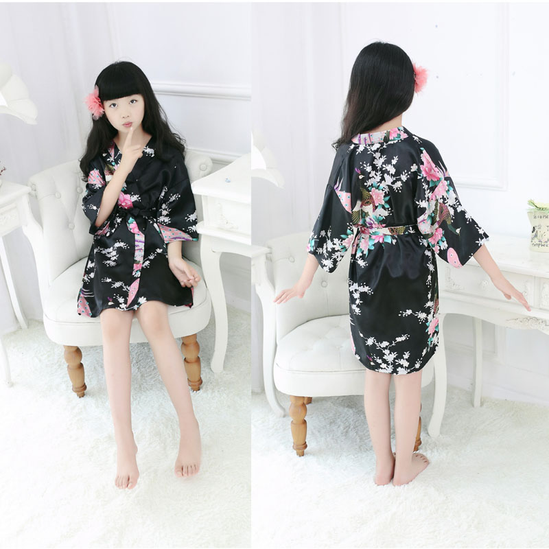 Fashion Kids Girls Satin Robe Floral Peacock Print Bathrobe Short Kimono Night Bathing Gown M09
