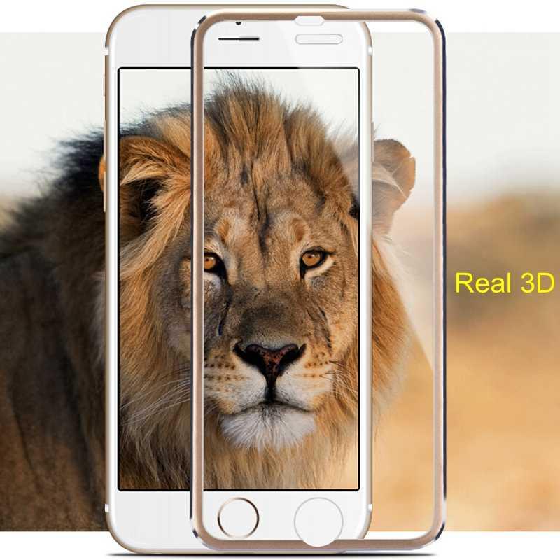 Liga de Alumínio Curvo Vidro Temperado Film 3D FRVSIMEM Real Completa Capa Protector Para iphone 6 6s 7 5 5S SE 5C 8 Plus X 10