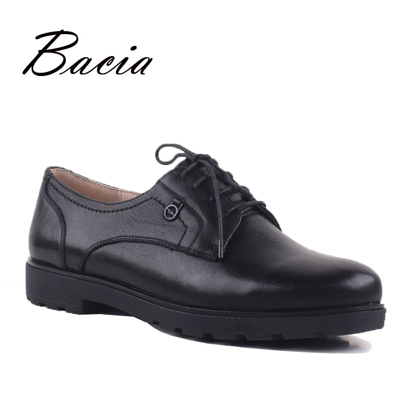 Bacia Matt Leather Lace up Flats Cowhide Leather Shoes Women Full Season Footwear Casual Low Heels Shoes Classical Style VD020