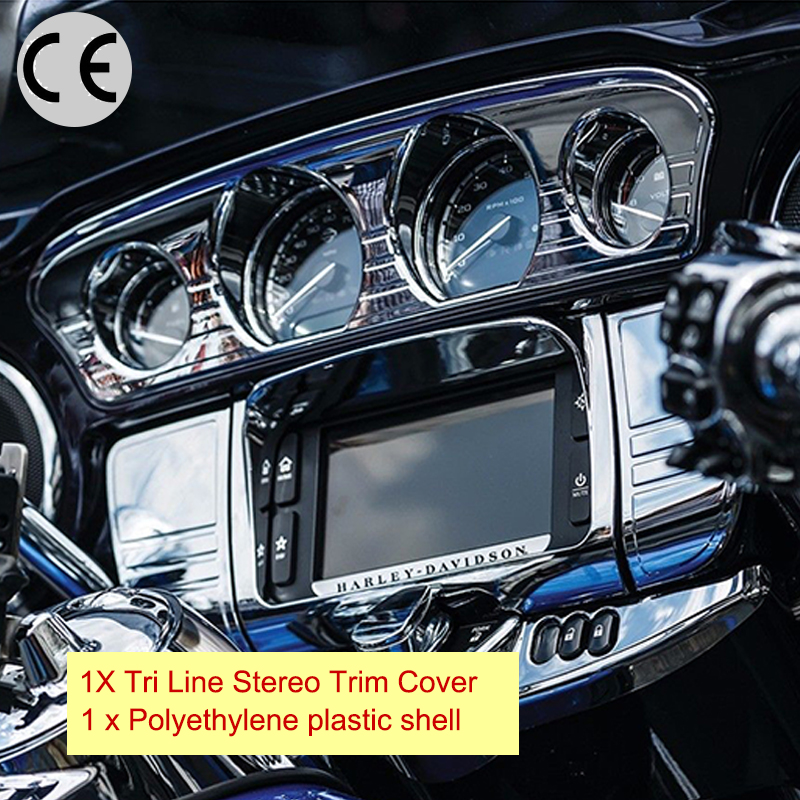 Chrome Motorcycle Tri Line Stereo Trim Cover Frame Grill Deep Cut For Harley Touring Electra Street Glide Ultra 2014 - 2017