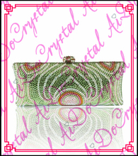 Aidocrystal shenzhen green ang white crystal purse fashion evening clutches elegant ladies single shoulder bag