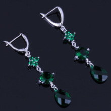 Flawless Water Drop Green Cubic Zirconia 925 Sterling Silver Dangle Earrings For Women V0824