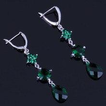 Flawless Water Drop Green Cubic Zirconia 925 Sterling Silver Dangle Earrings For Women V0824