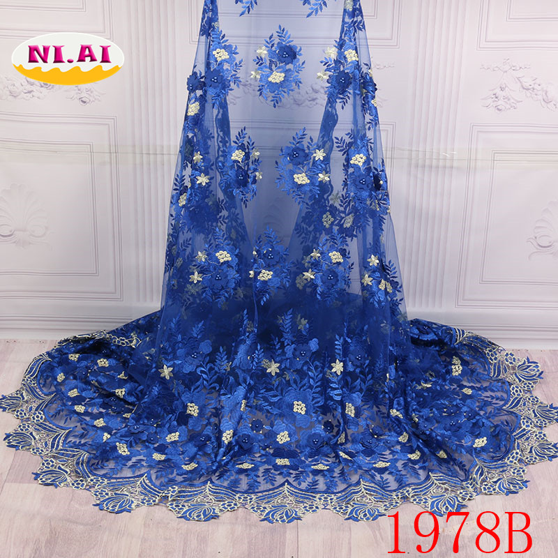 Royal Blue African Lace Fabric 2018 High Quality Lace Nigerian Beaded Pearls Lace Fabric Party Net