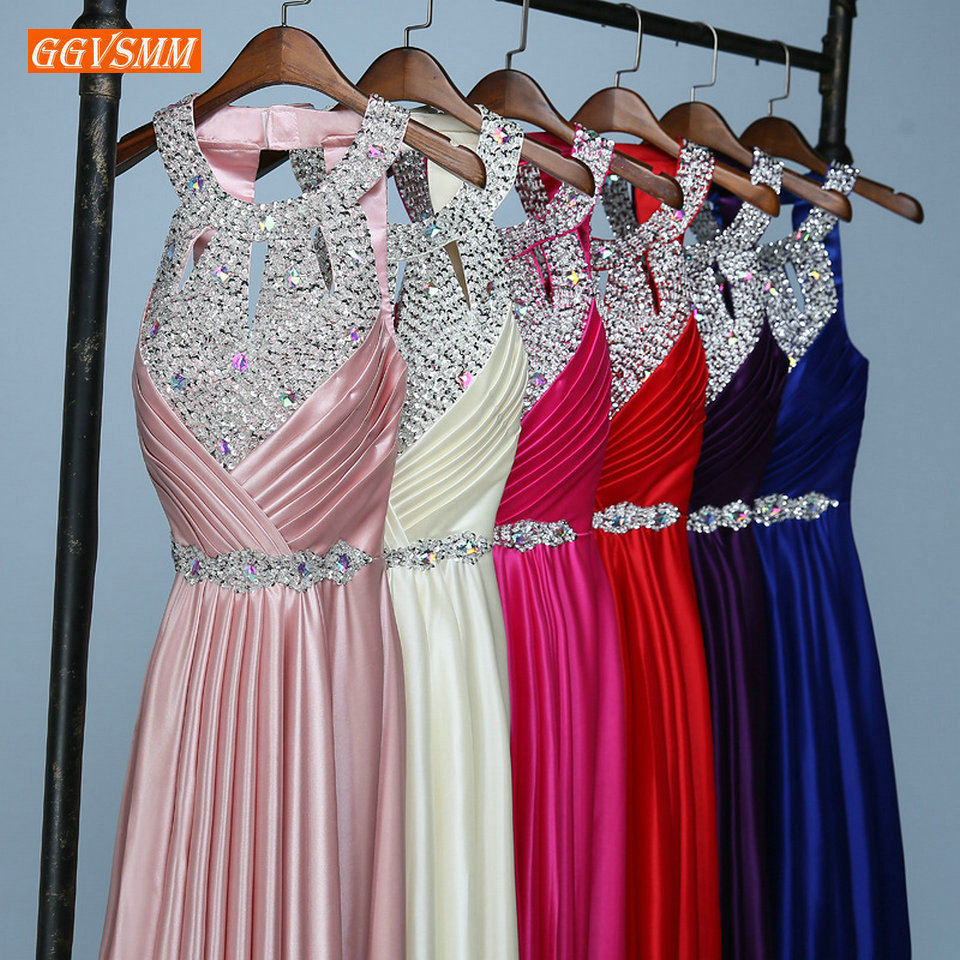 Gorgeous Hot Pink Women Evening dresses 2019 Long Formal Party Gowns Bling Scoop Elastic Satin Beading