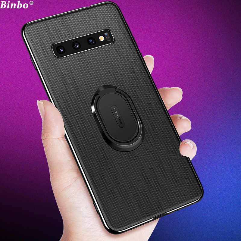 Binbo For Samsung Galaxy S10 Case Cover S10 Plus Car Magnetic Stand TPU + PC Back Cover For Samsung S10 S10Plus Case Coque Capa