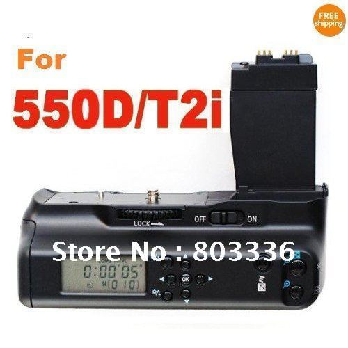 LCD Battery Grip for Canon EOS 550D/Rebel T2i, LCD timer battery grip for Canon 550D,Free Shipping!