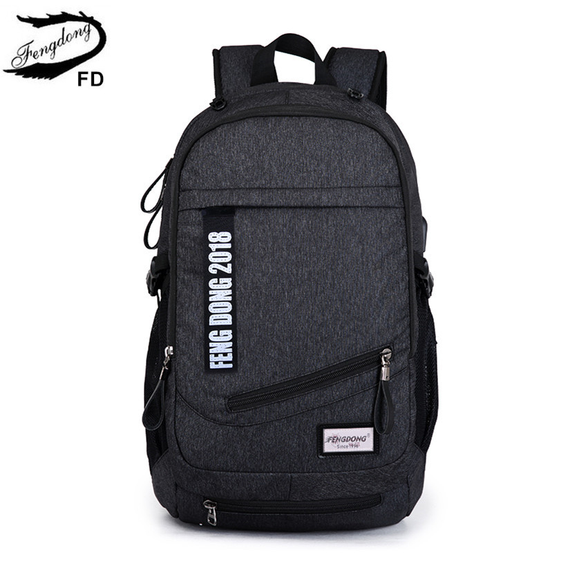 FengDong men laptop backpack male notebook computer bag 15.6 school bags for boys travel backpack usb bag black school backpack fengdong brand female laptop backpack women travel bags high school backpack for girls black and white waterproof chest bag set