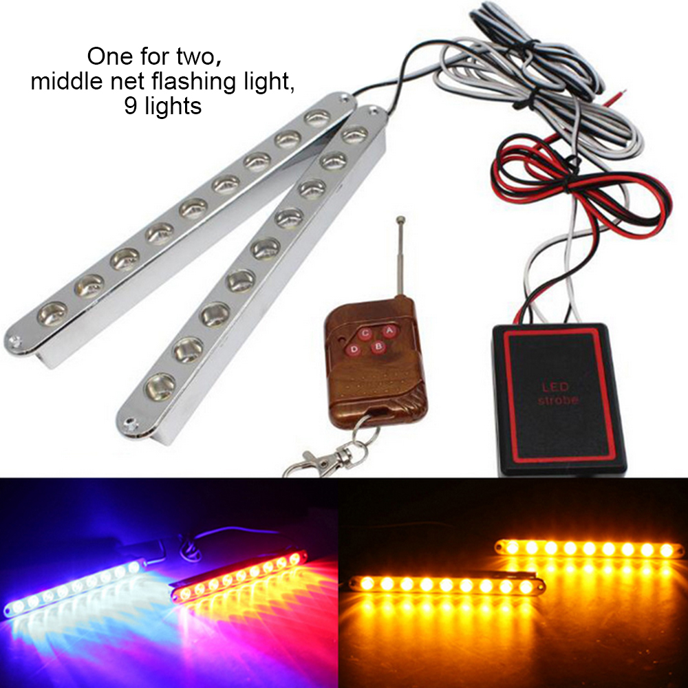 Wireless Control Streamer Lights Car Truck 9 LED Amber Flashing Emergency Hazard Warning Lamp DC12 24V Clearance light