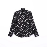 European Station Advanced Quality 2018 Autumn Fashion New Polka Dot Office Lady Pure Silk Shirts Long Sleeved Blouses Black Red