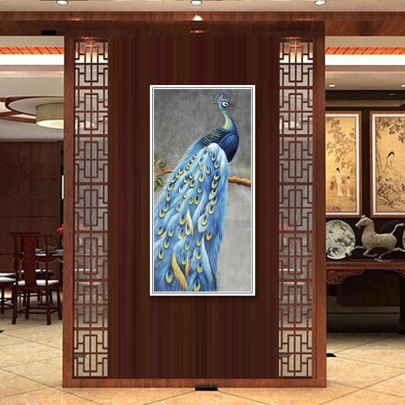 (Tidak Ada Dibingkai) Pabrik Grosir Biru Merak Seri Poster Kanvas Kustom Cetak Di Atas Kanvas Cetak Dinding Gambar Dekorasi Rumah