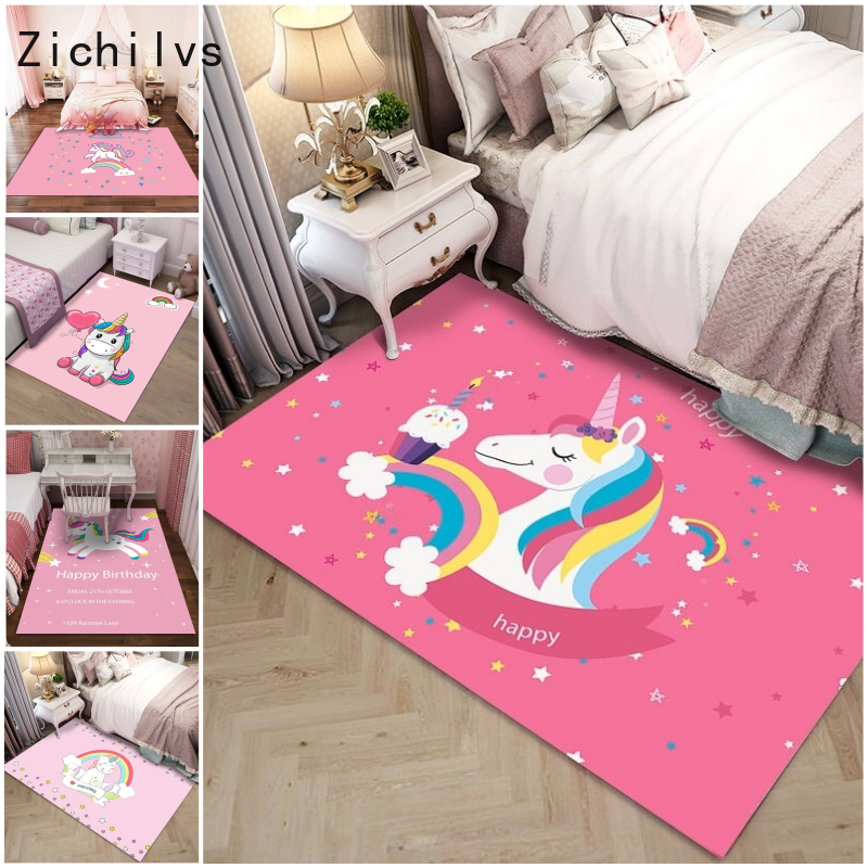 Zichilvs New Cute Floor Balcony Carpets Home Decor Bedroom Anti-slip Unicorn Decoration Bedroom  Living Room Rugs Birthday Gift