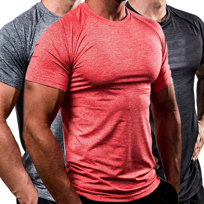3Pcs/lot Man's Quick Drying Solid Brand Clothing Short Sleeve T Shirt Men Comfortable Undershirt Mens Bodybuilding Tshirt