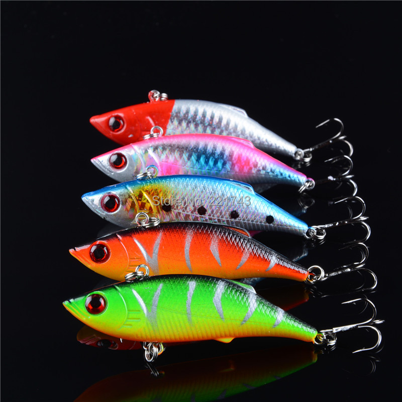 купить 5 pcs lot winter fishing lures hard bait VIB with lead inside lead fish ice sea fishing tackle swivel jig wobbler lure 7cm/10g недорого