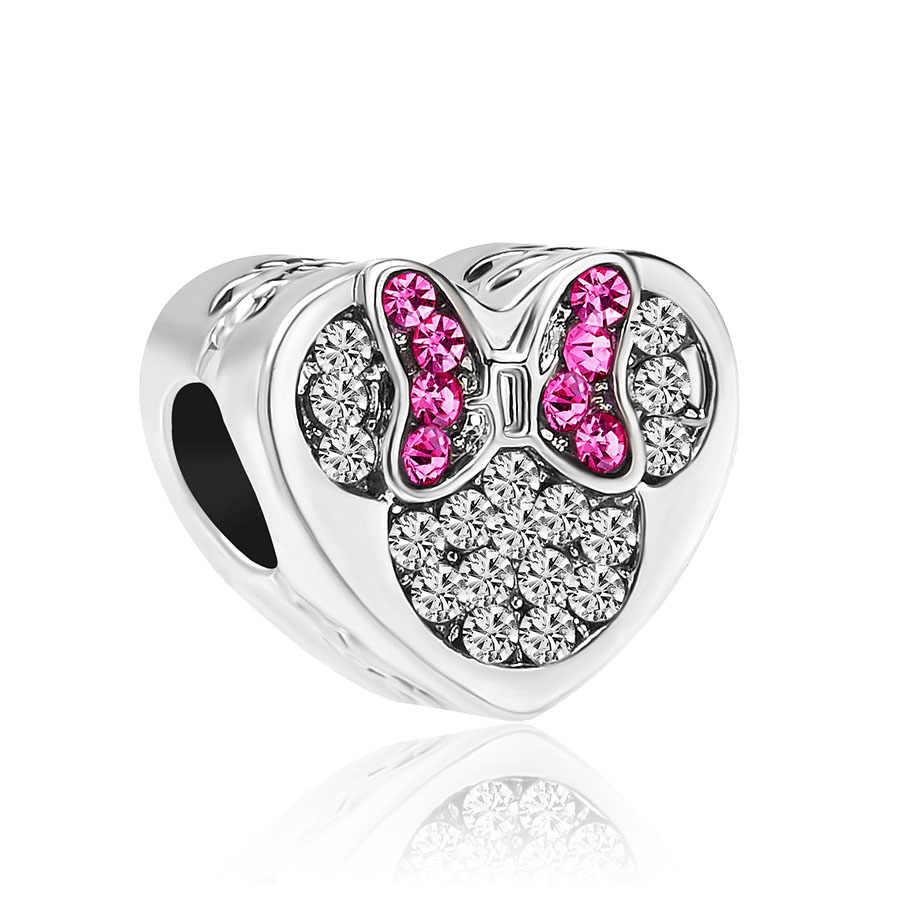 1 шт., Европейский самодельный браслет с Микки и Минни Маус, оригинальный очаровательный браслет Pandora, ювелирные изделия для женщин S006
