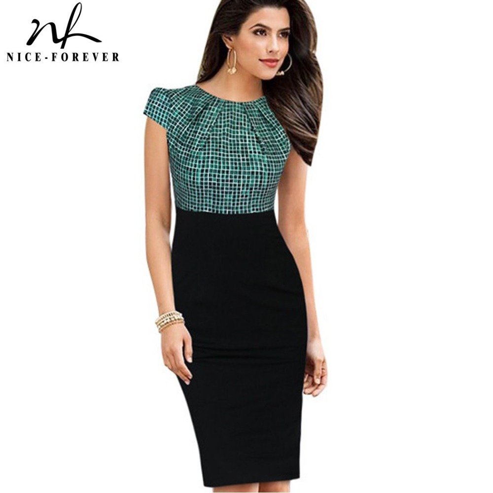 Nice-forever New Print Stylish Elegant Casual Work Ruched Cap Sleeve Gather O-Neck Bodycon Knee Women Office Pencil Dress B316
