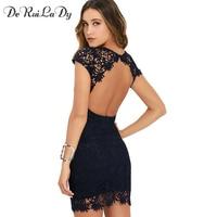 DeRuiLaDy Women Sexy Lace Mini Dress Elegant Party Night Club Halter Neck Dresses Summer Sleeveless Sheath