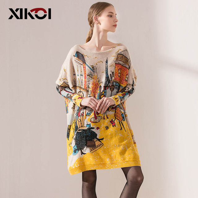 XIKOI Autumn Fashion Women's Clothing Long Sweaters Slash Neck Batwing Sleeve Loose Knitted Sweater Ladies Pullovers Sweaters