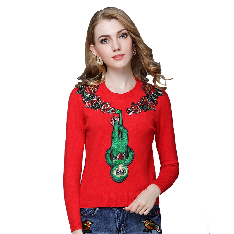 woman sweater and pullover luxury new autumn winter Casual Monkey Embroidery sweater runway designer loved knitted Female tops
