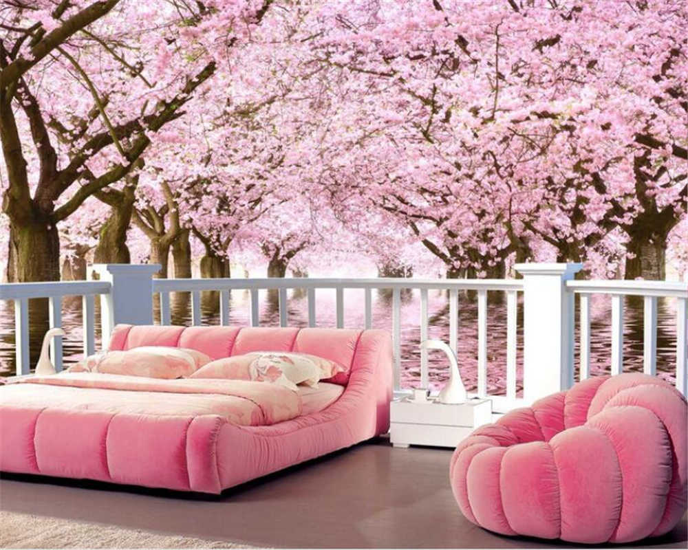 3D Wallpaper fashion 3d Cherry tree balcony wall paper TV Wall Background wall papers home decor papel de parede Beibehang